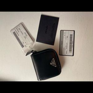 Prada black leather change wallet